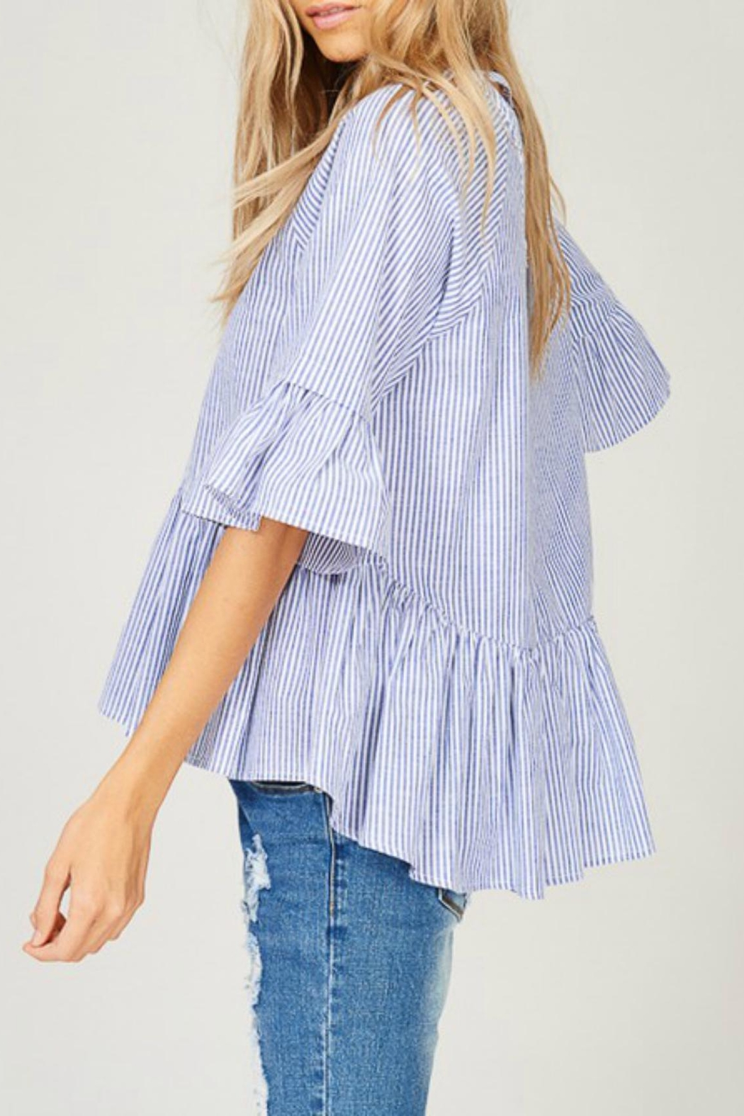 Listicle Striped High-Low Top - Front Full Image