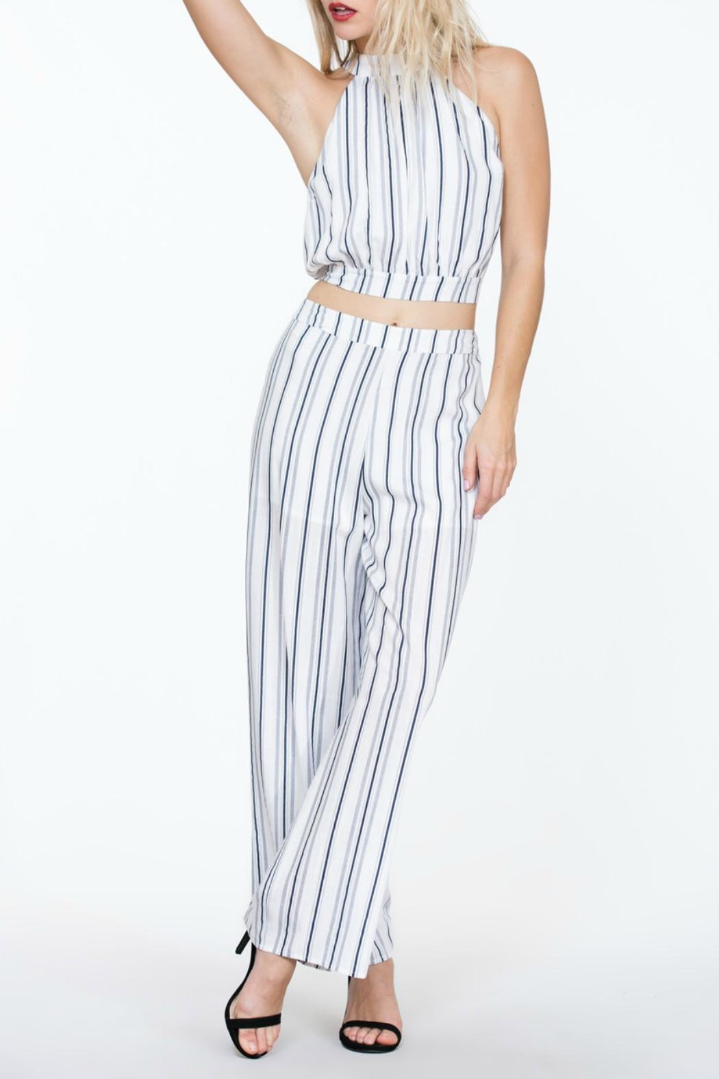 The Room Striped Highwaisted Pant - Back Cropped Image