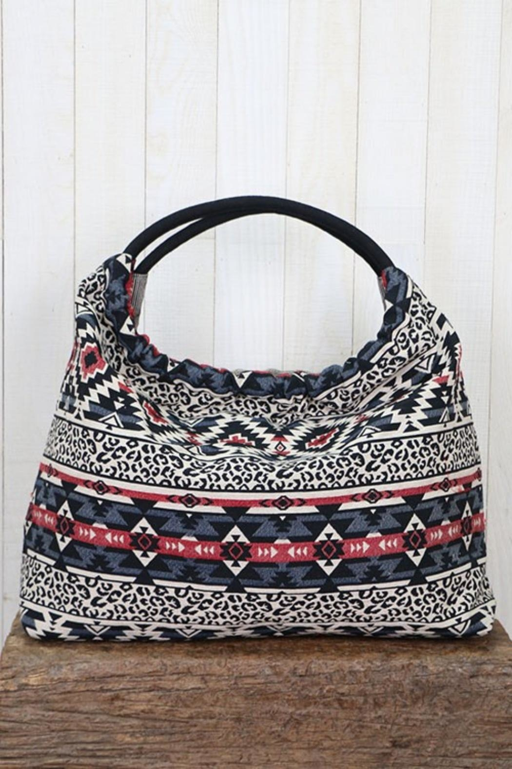 Lovestitch Striped Hobo Bag - Front Full Image