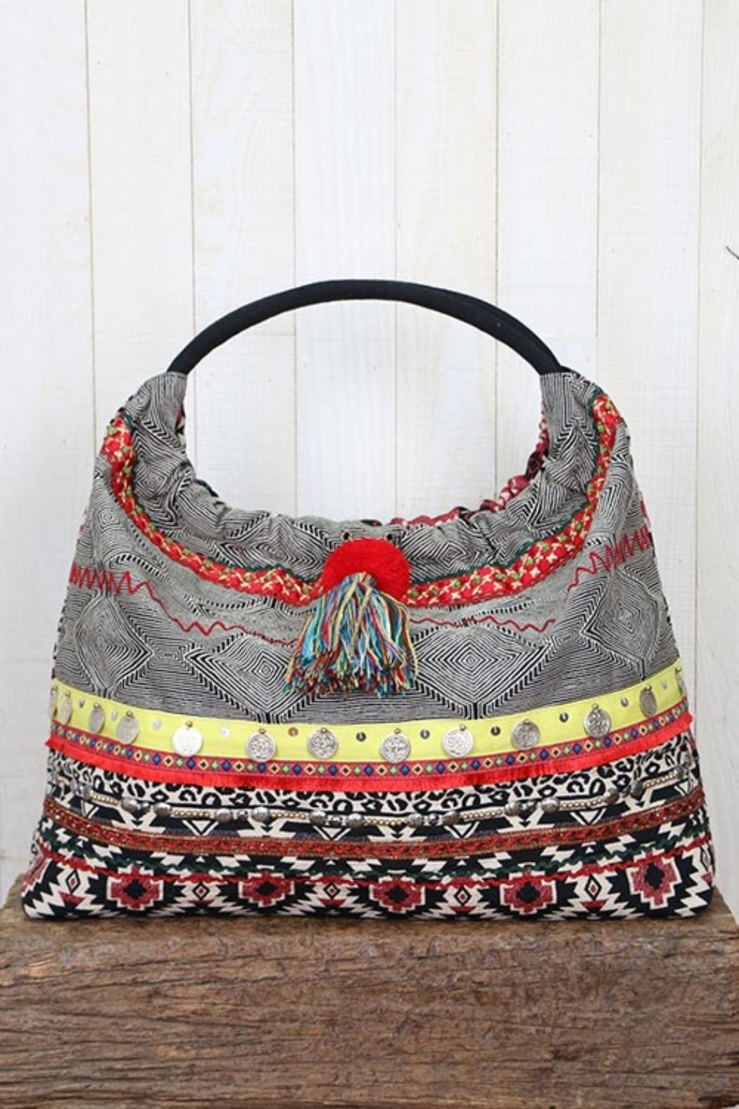 Lovestitch Striped Hobo Bag - Main Image