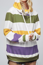 Fantastic Fawn Striped Hoodie Sweatshirt - Product Mini Image