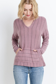 Paper Crane Striped hoodie top with kangaroo pocket - Front full body