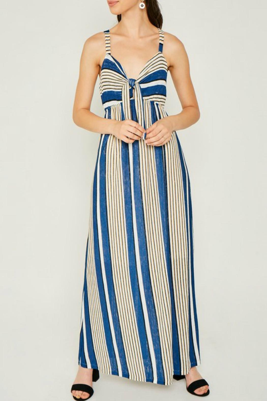 Hayden Striped Jersey-Knit Tie-Front-Dress - Front Cropped Image