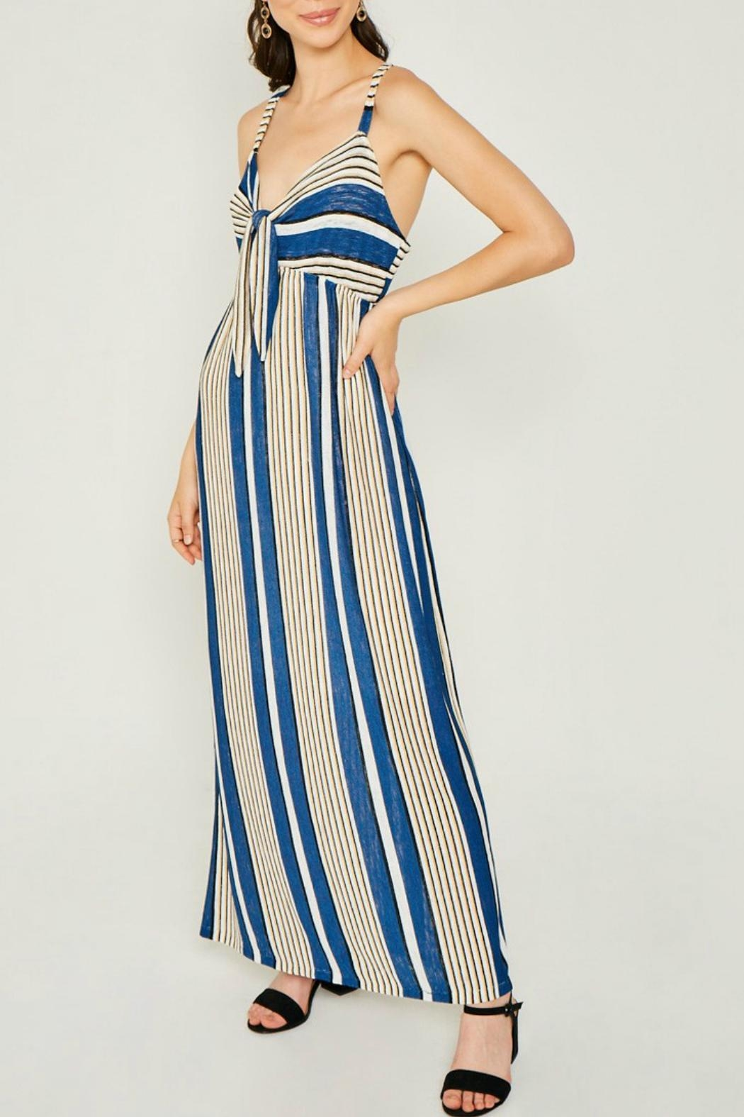 Hayden Striped Jersey-Knit Tie-Front-Dress - Side Cropped Image