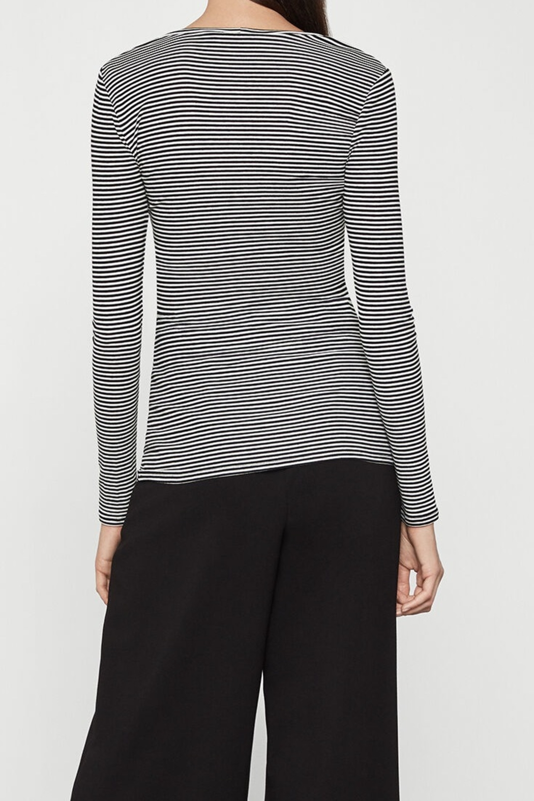 BCBG MAXAZRIA Striped Jersey Top - Front Full Image