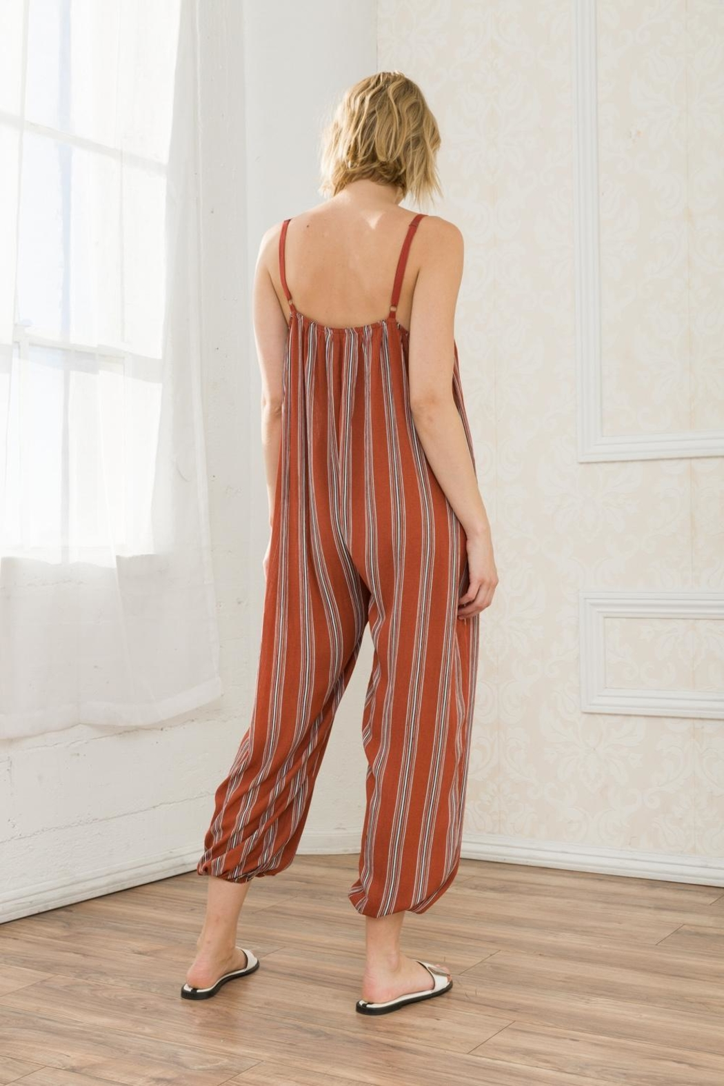 Mystree Striped Jumpsuit - Side Cropped Image