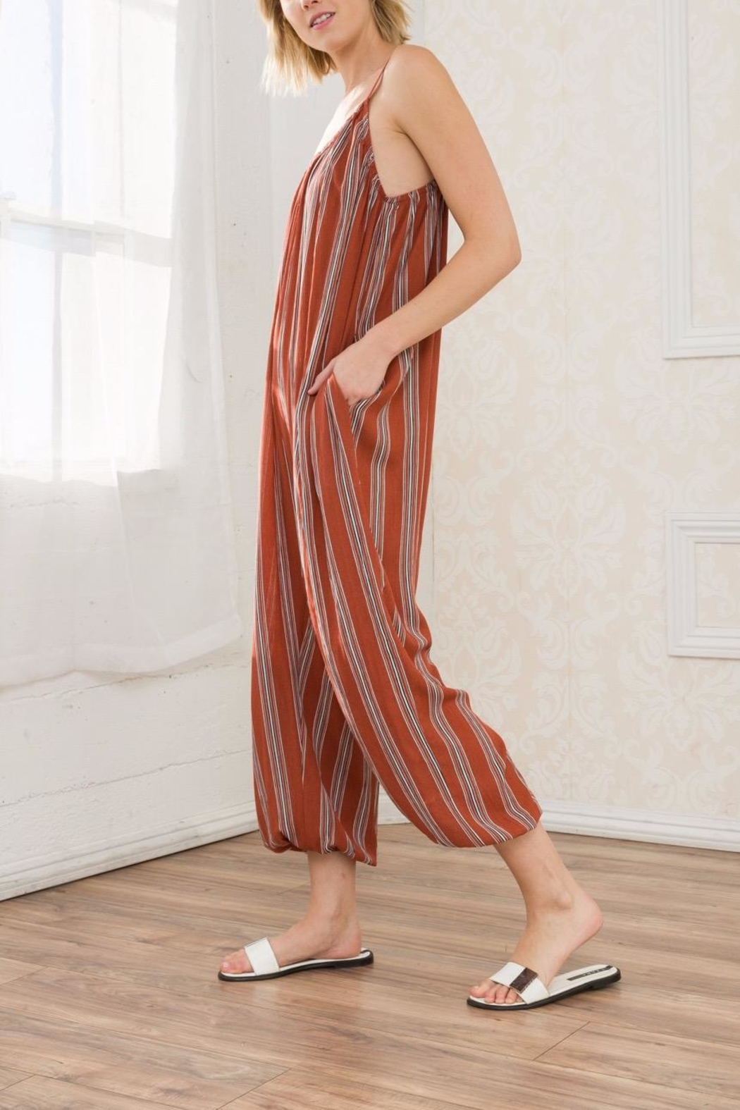 Mystree Striped Jumpsuit - Front Full Image