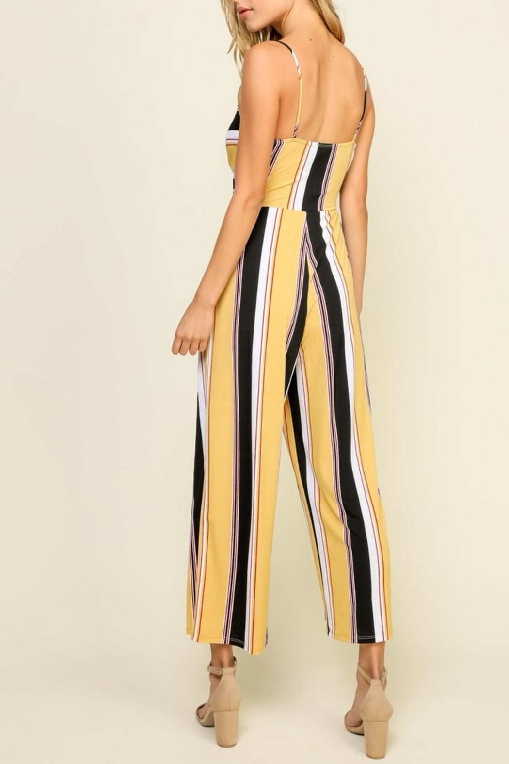 Timing Striped Jumpsuit - Back Cropped Image