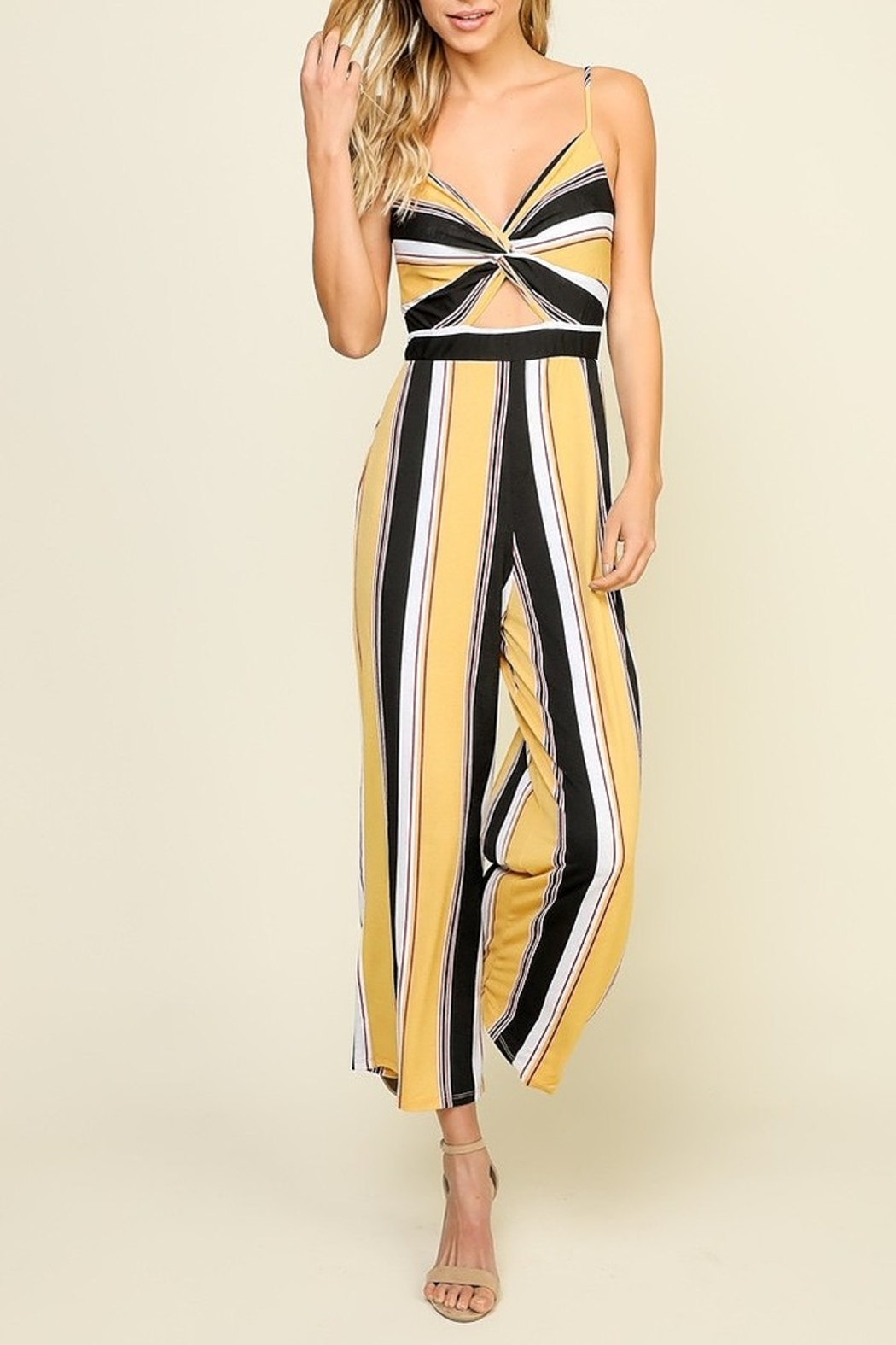Timing Striped Jumpsuit - Front Full Image