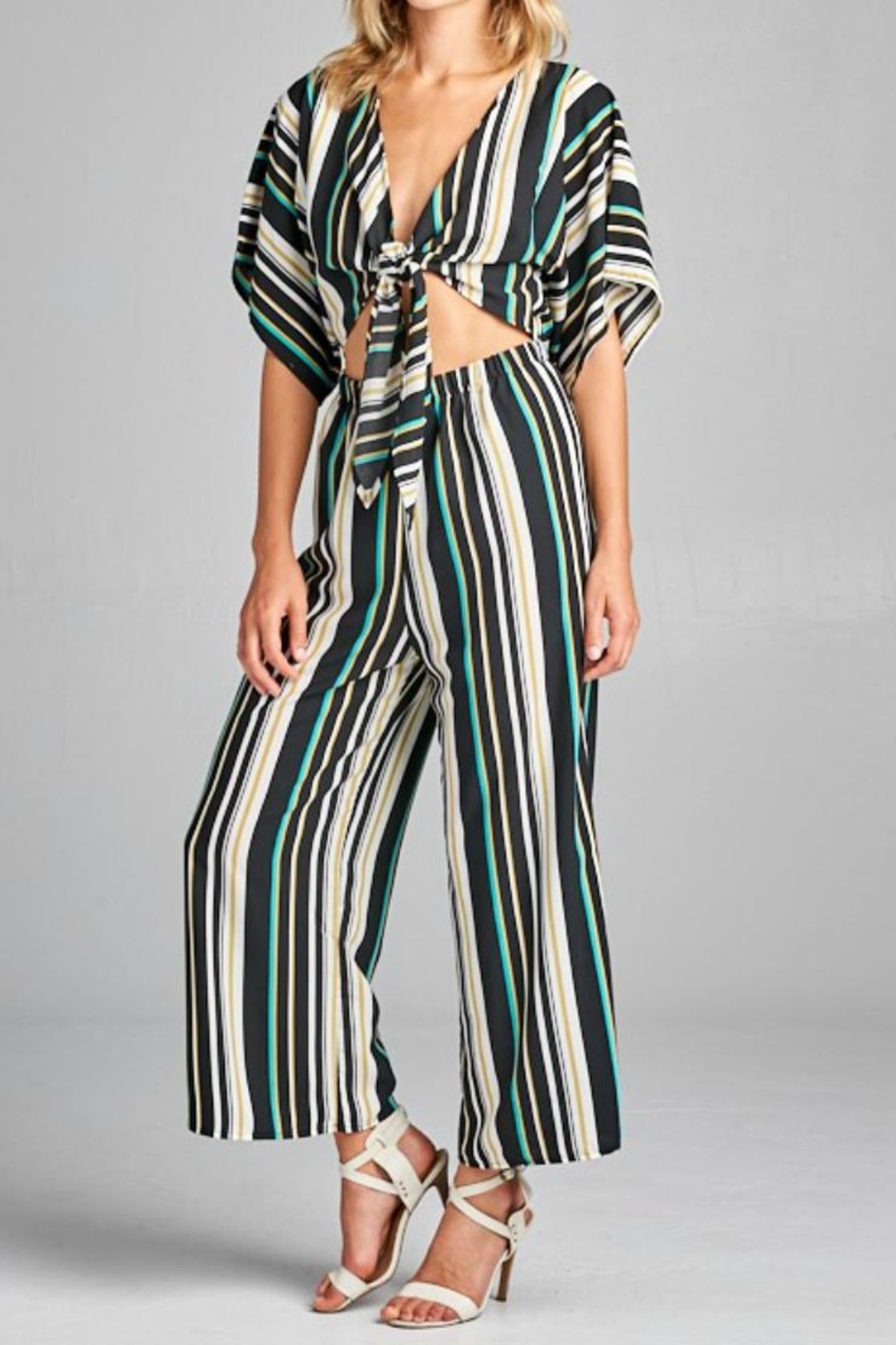 Style Rack Striped Jumpsuit - Main Image