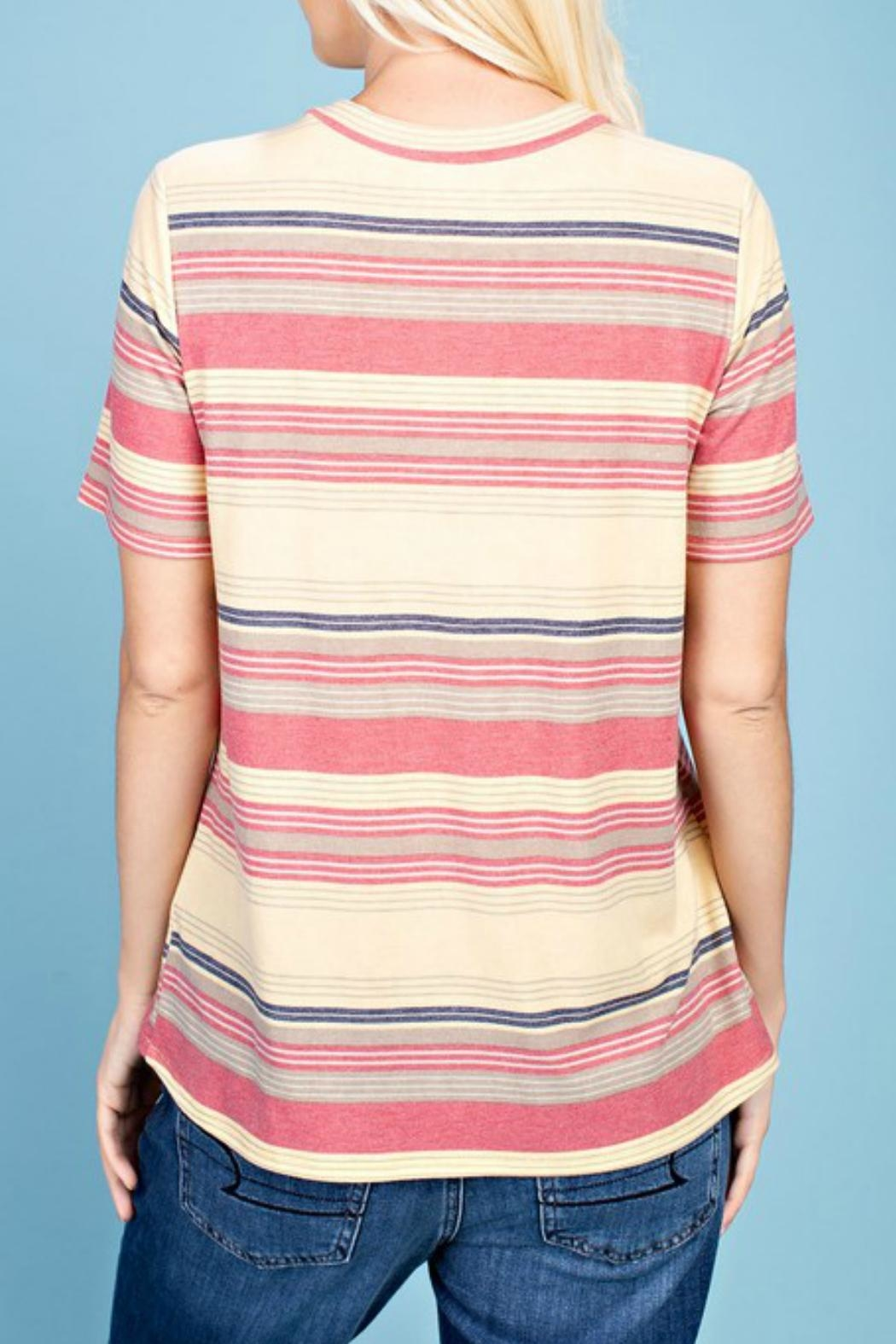 143 Story Striped Key-Hole Top - Front Full Image