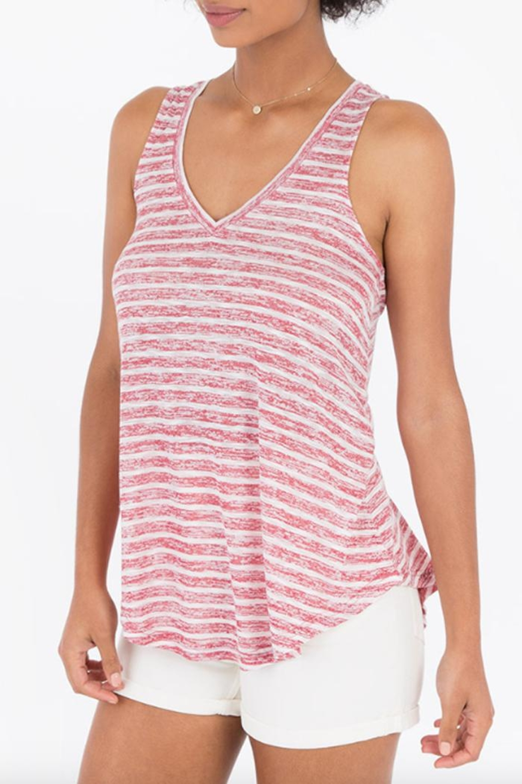 rag poets Striped Keyhole-Back Tank - Main Image