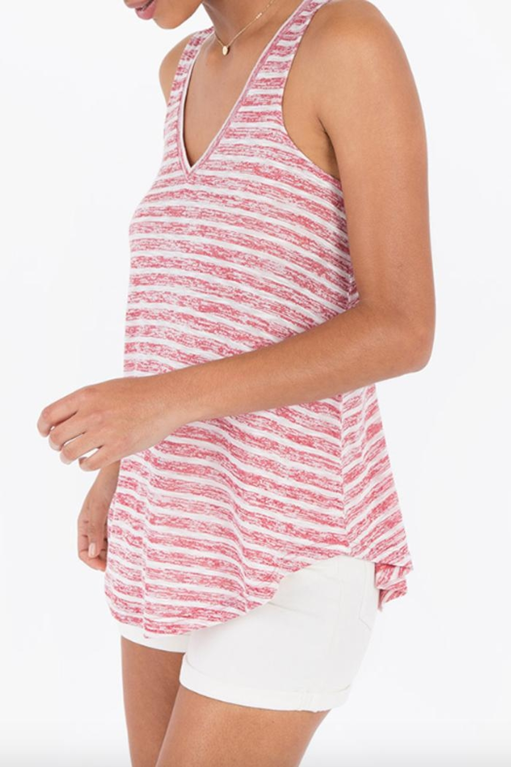 rag poets Striped Keyhole-Back Tank - Front Full Image
