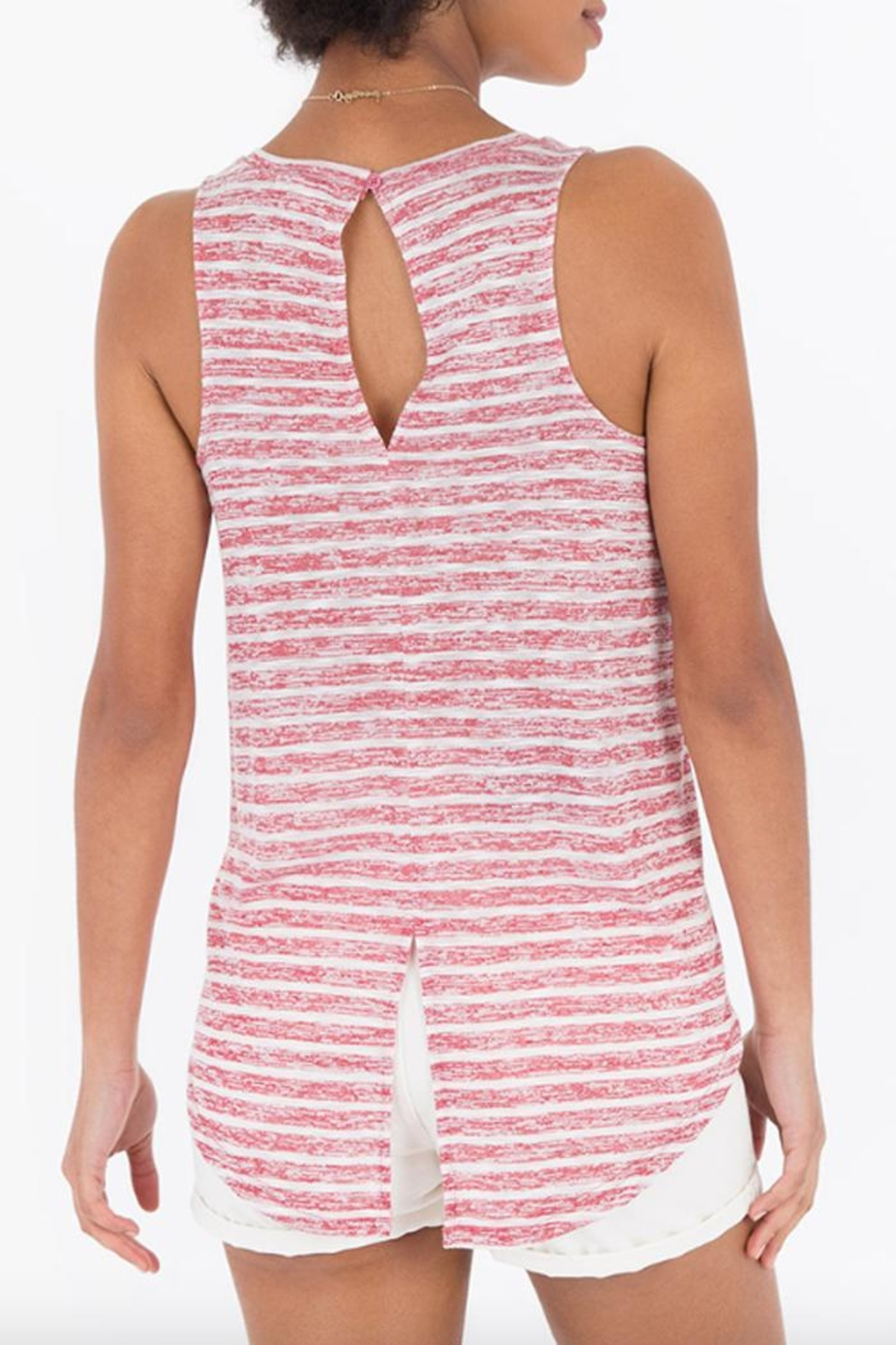 rag poets Striped Keyhole-Back Tank - Side Cropped Image