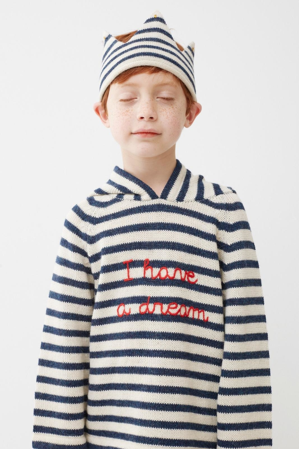Oeuf Striped Kids' Hoodie - Front Full Image