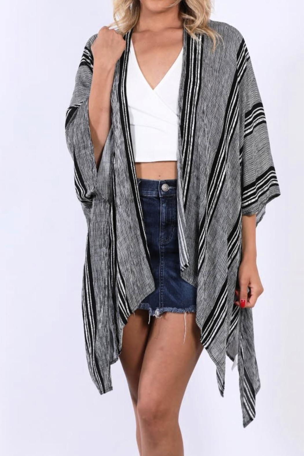 Miss Darlin Striped Kimono Cardigan - Front Cropped Image