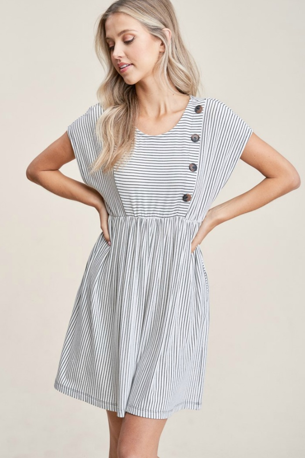 Staccato Striped Knit Dress - Front Full Image