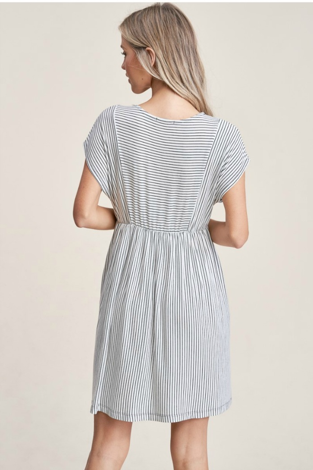 Staccato Striped Knit Dress - Back Cropped Image