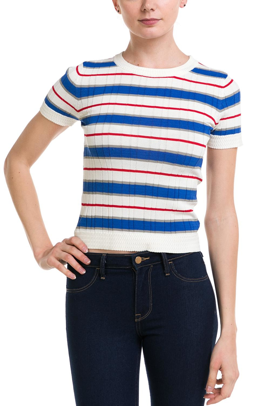 Lumiere Striped Knit Top - Front Cropped Image