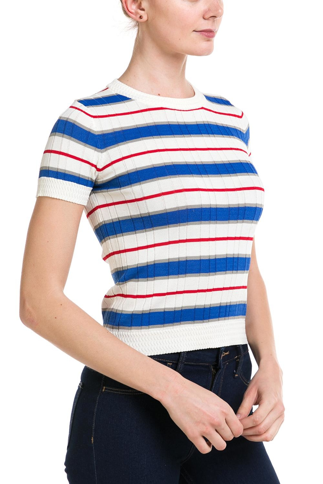 Lumiere Striped Knit Top - Front Full Image