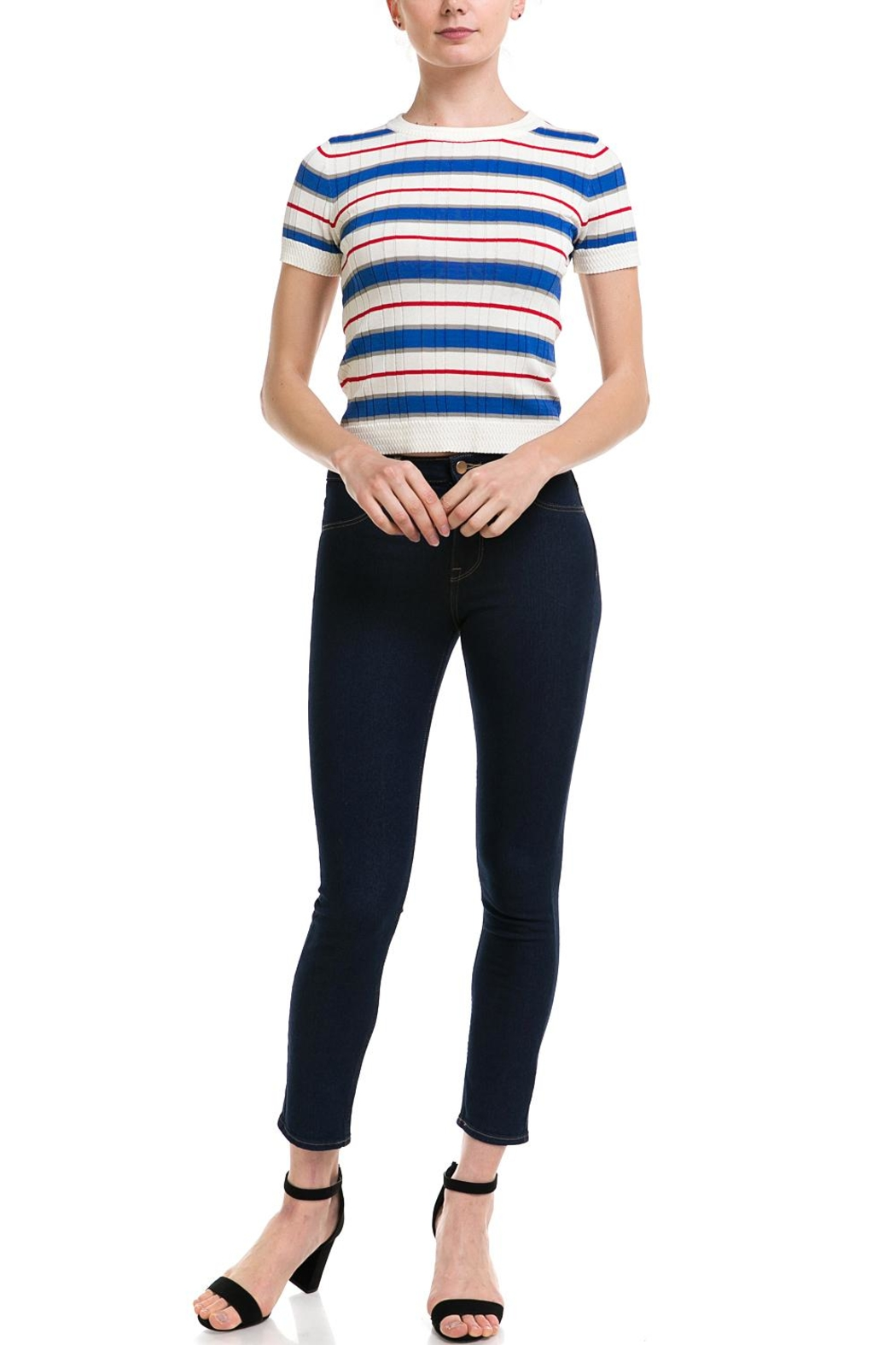 Lumiere Striped Knit Top - Side Cropped Image