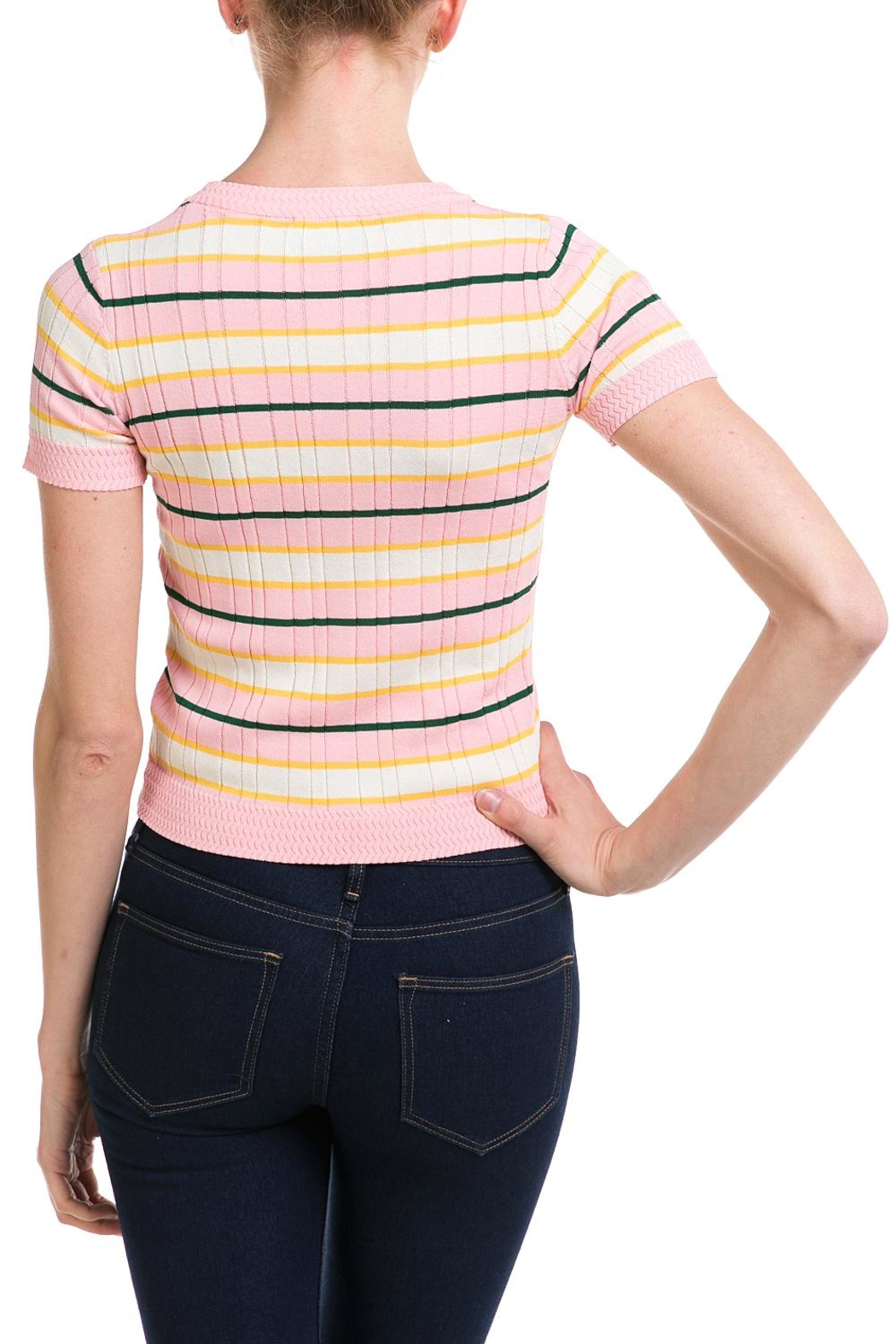 Lumiere Striped Knit Top - Back Cropped Image