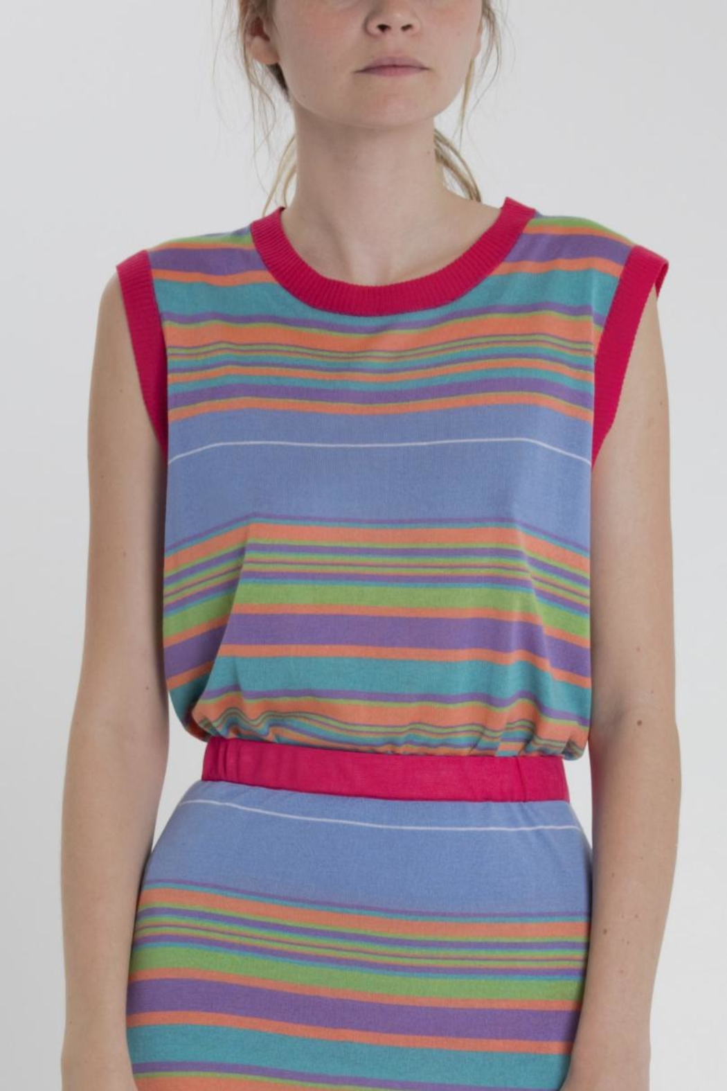 Thread+Onion Striped Knit Top - Side Cropped Image