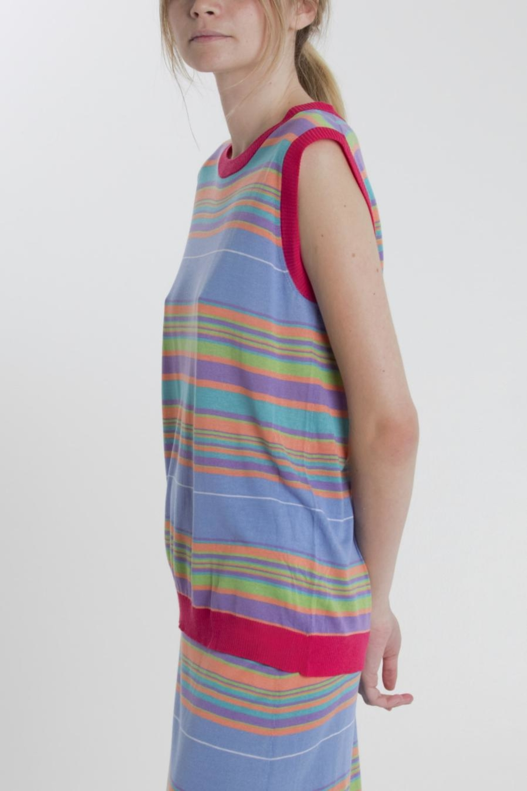 Thread+Onion Striped Knit Top - Front Full Image