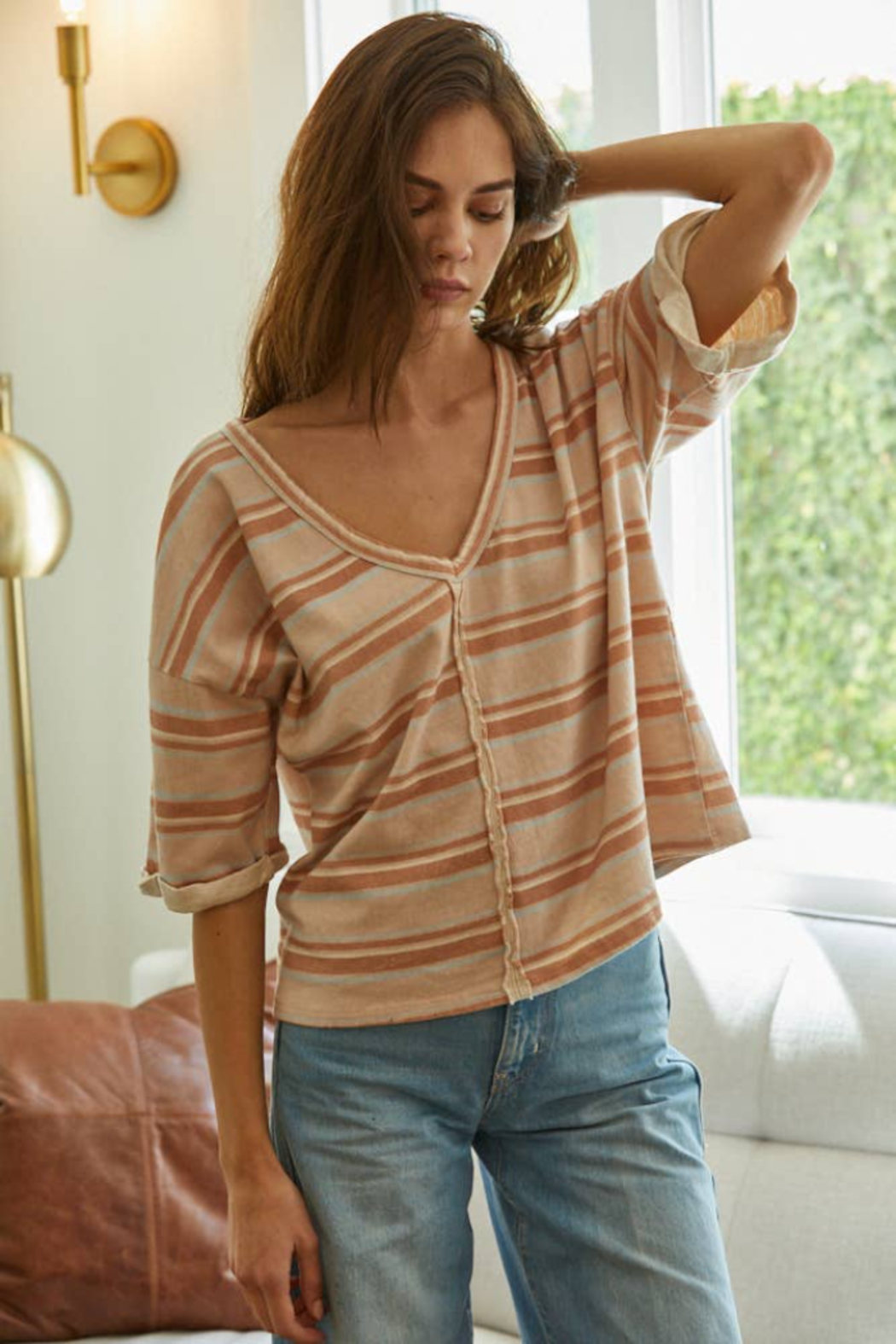 By Together Striped Knit V-Neck Crop Tee - Main Image