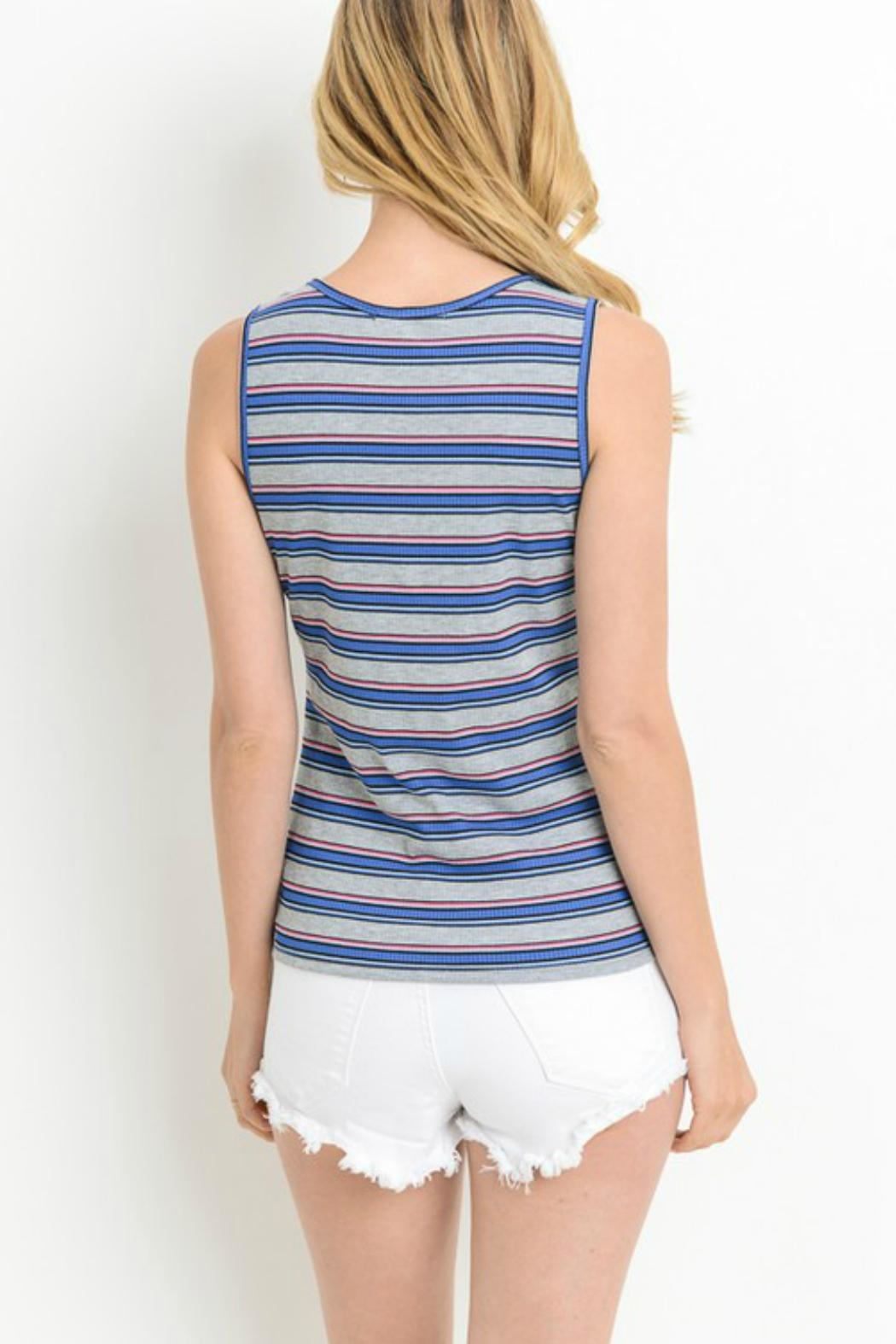 Le Lis Striped Knotted Tank - Front Full Image