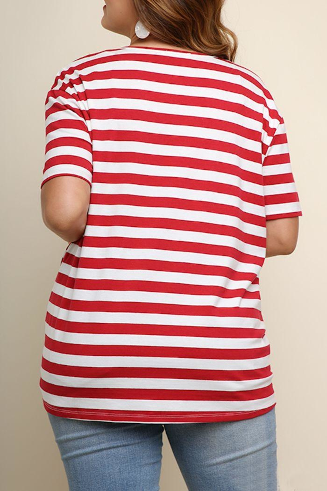 Umgee USA Striped Knotted Top - Front Full Image