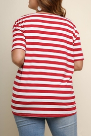 Umgee USA Striped Knotted Top - Front full body