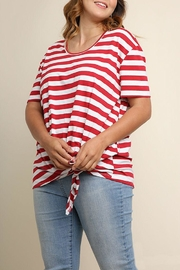 Umgee USA Striped Knotted Top - Front cropped
