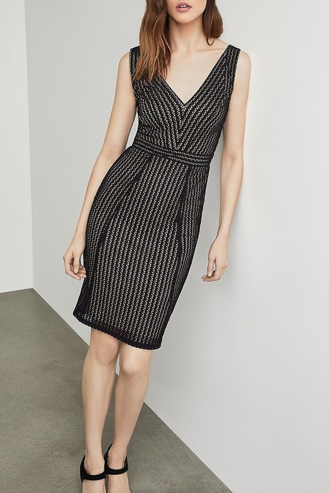 BCBG MAXAZRIA Striped Lace Sheath Dress - Front Cropped Image