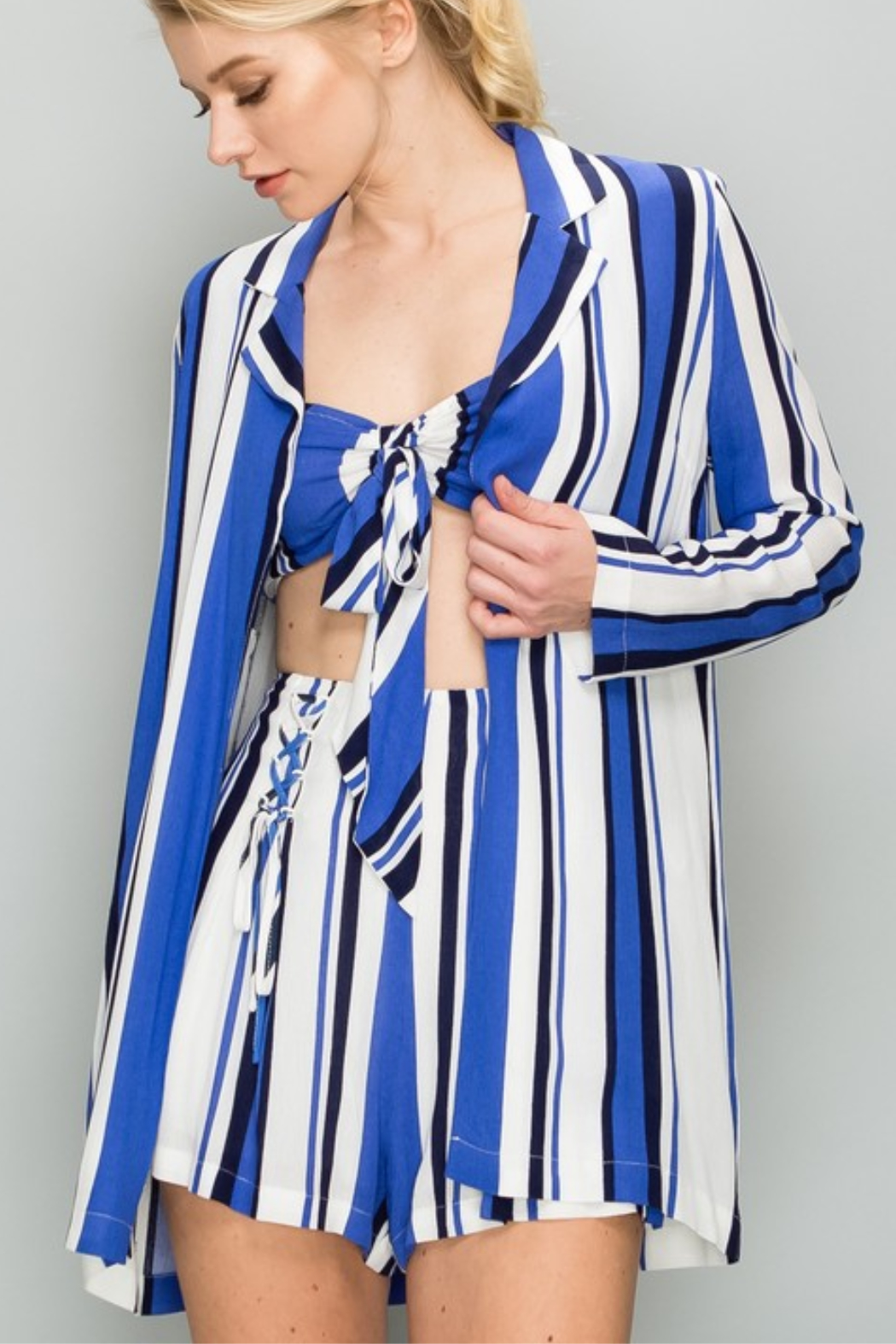 AAKAA Striped Lightweight Blazer - Front Cropped Image