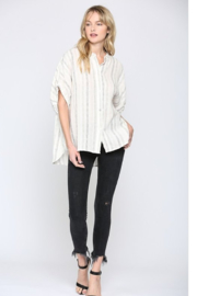 Quarter To Five Striped Linen Blouse - Product Mini Image