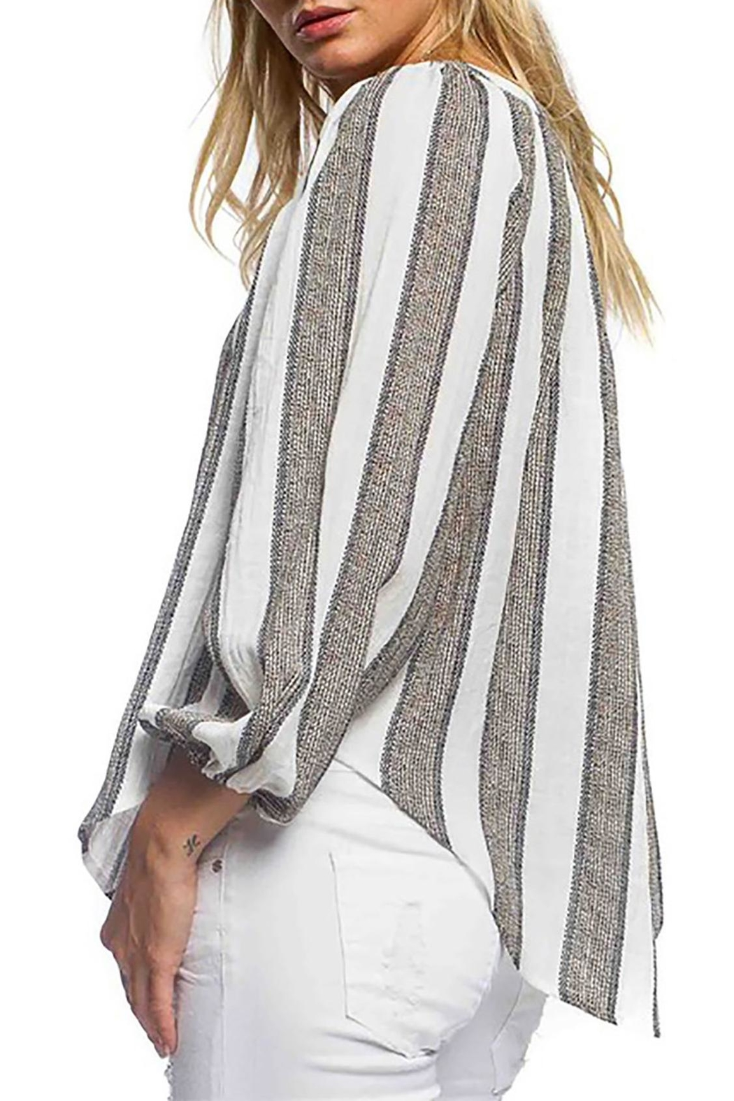 Anama Striped Linen Blouse - Front Full Image