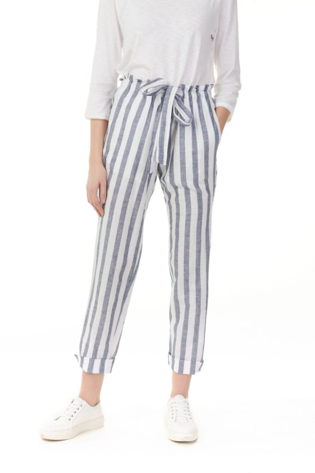 Charlie B Striped Linen Pant - Front Full Image