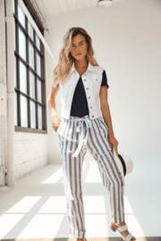 Charlie B Striped Linen Pant - Front cropped