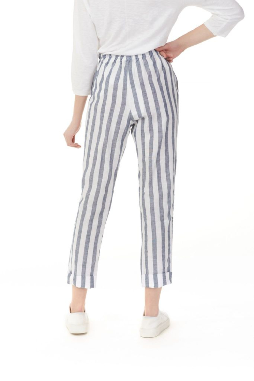 Charlie B Striped Linen Pant - Side Cropped Image