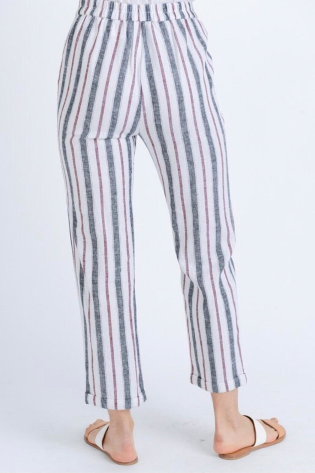 Love Tree Striped Linen Pants - Side Cropped Image