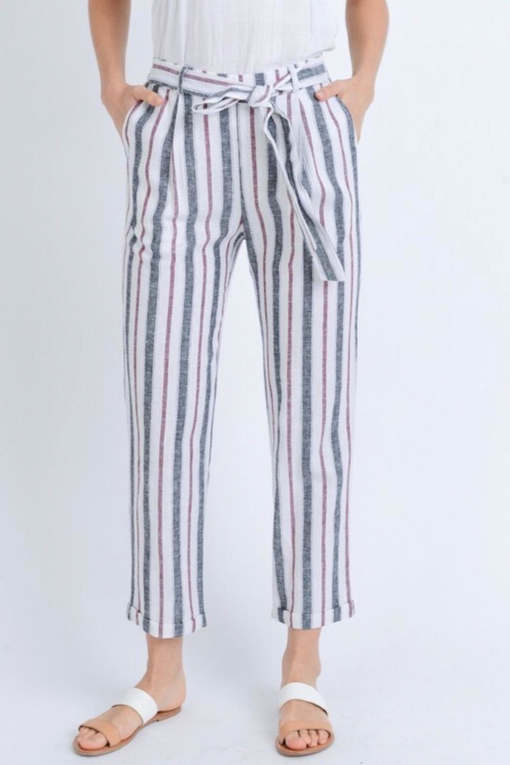 Love Tree Striped Linen Pants - Main Image