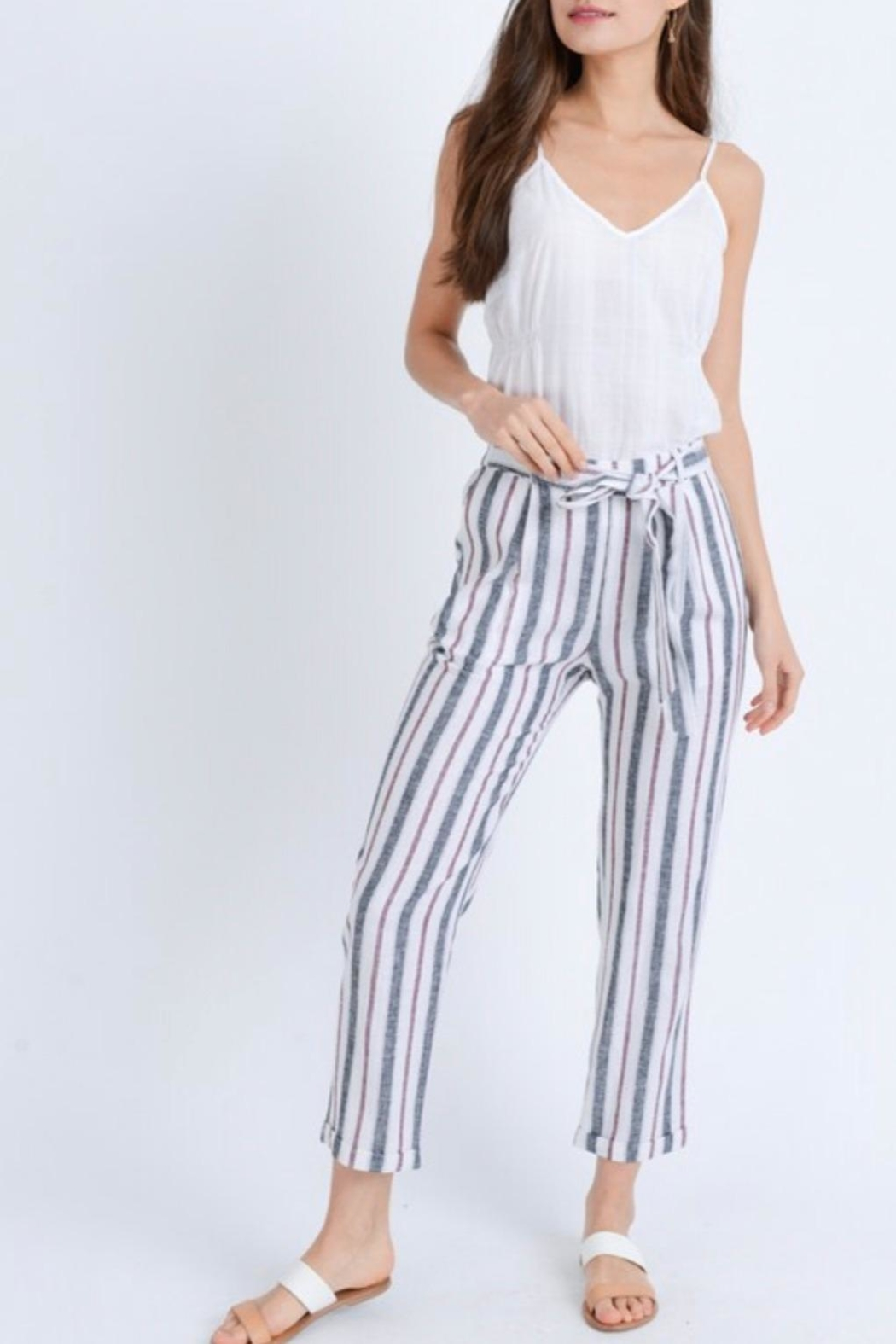 Love Tree Striped Linen Pants - Front Full Image
