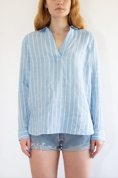 NYDJ Striped Linen Popover - Product List Image