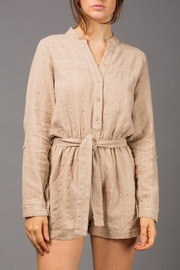 WREN & WILLA Striped Linen Romper - Product Mini Image