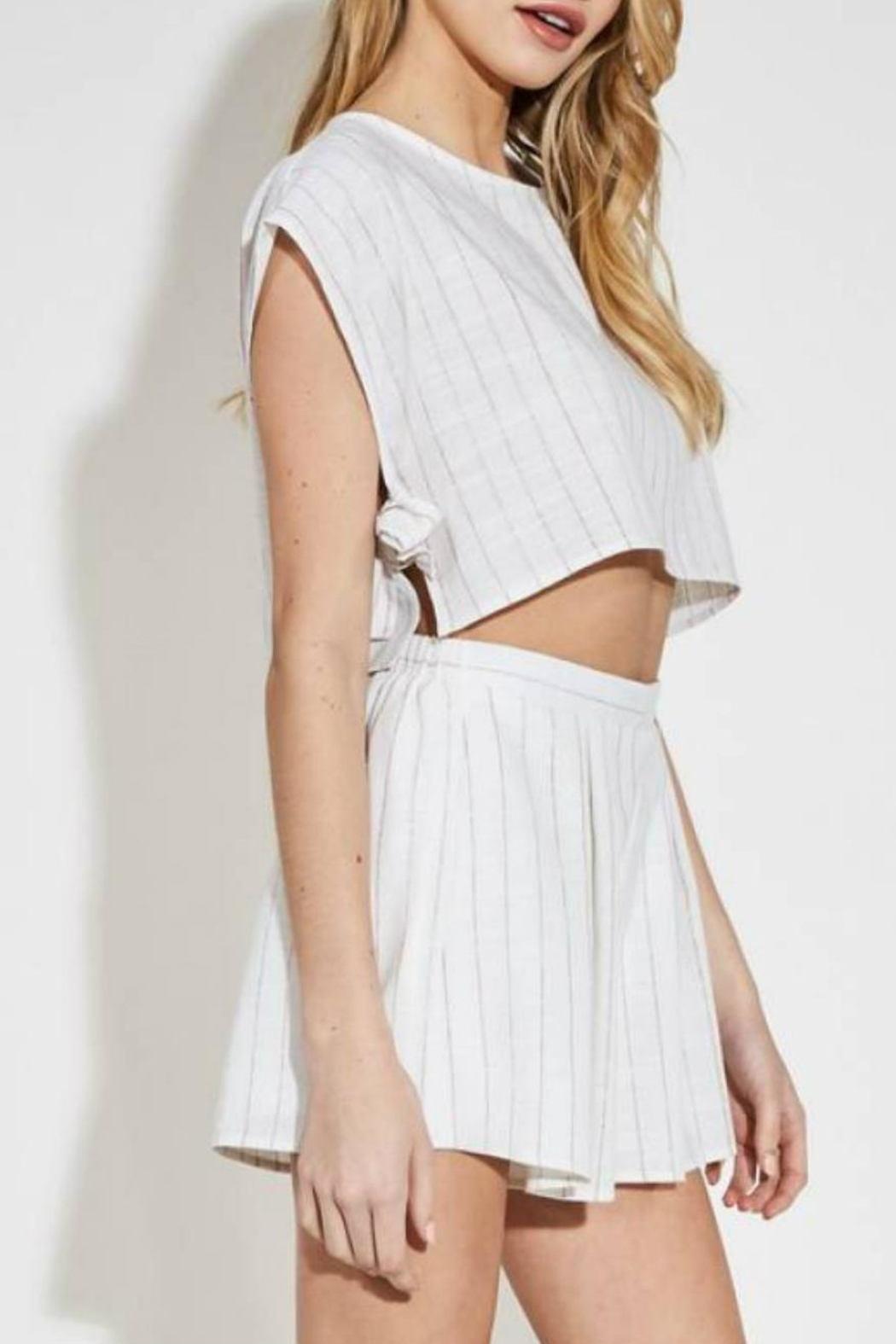 blue blush Striped Linen Short - Main Image