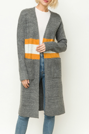 Mystree Striped long cardigan - Front cropped