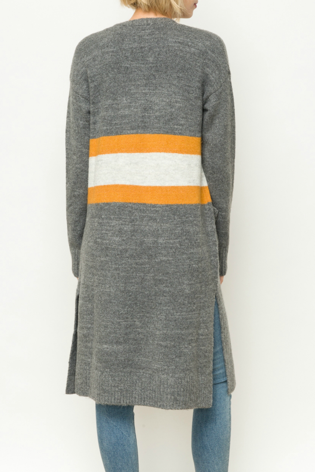 Mystree Striped long cardigan - Side Cropped Image