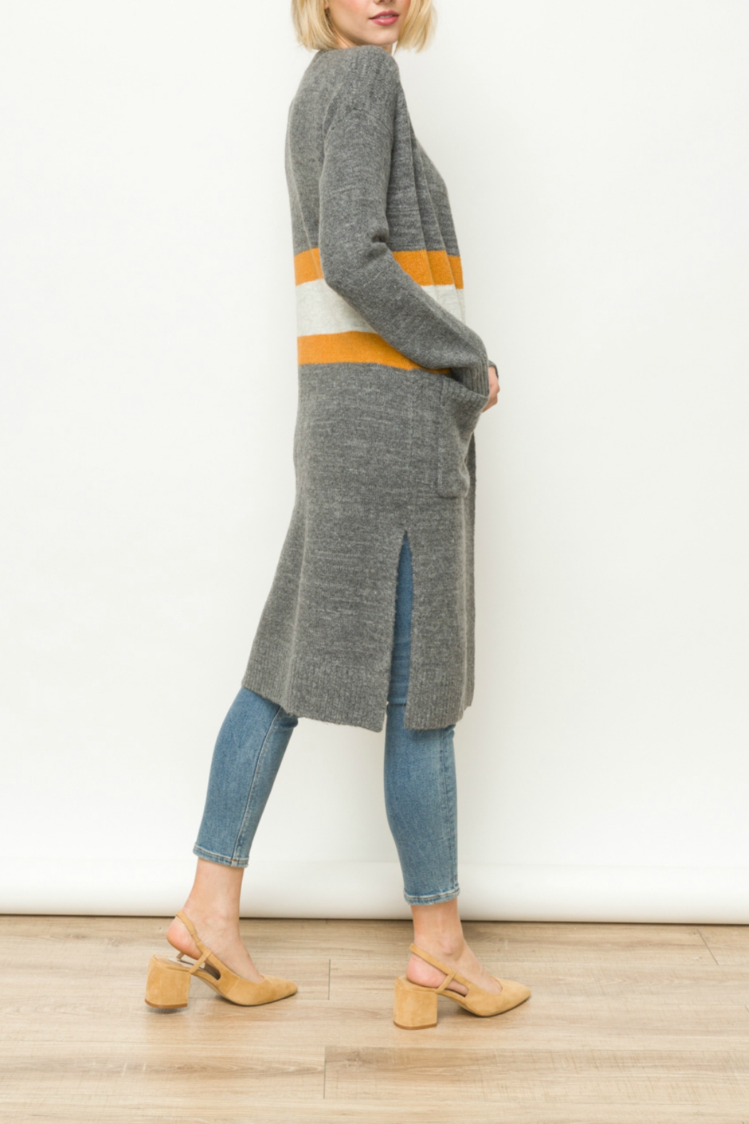 Mystree Striped long cardigan - Front Full Image