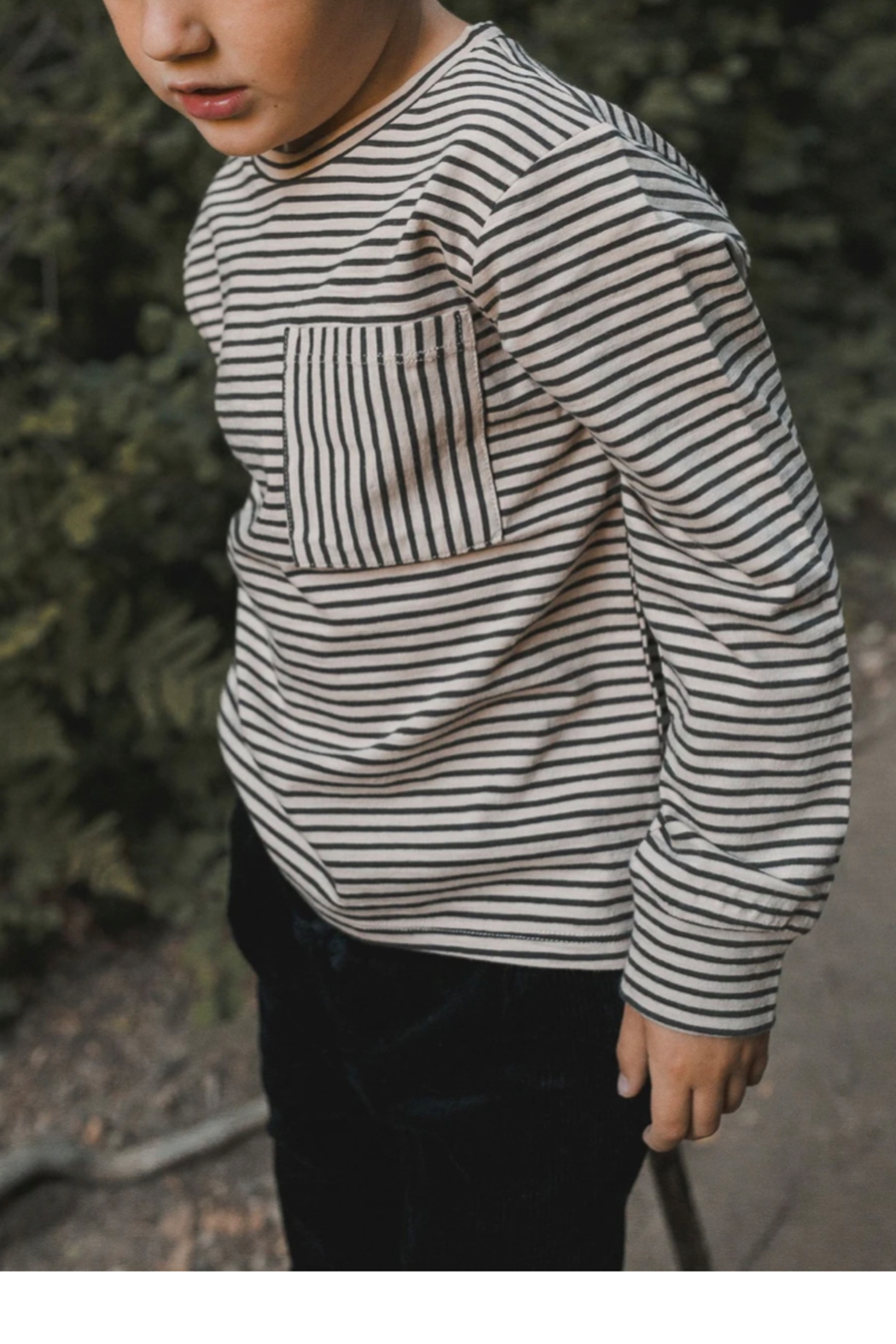 Rylee & Cru Striped Long Sleeve Skater Tee - Front Full Image